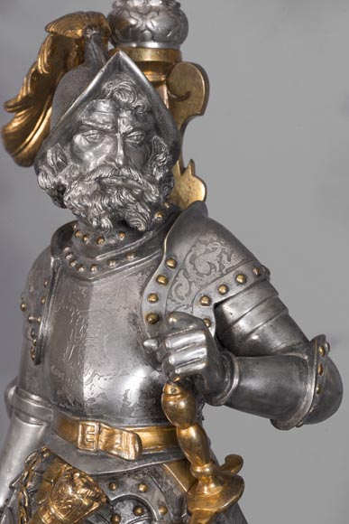 Bearded and armoured warrior clock set in silver and gilded bronze-8