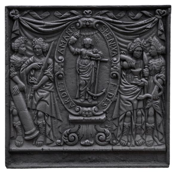 Antique fireback with jansenist decoration, 18th century - Reference 10961
