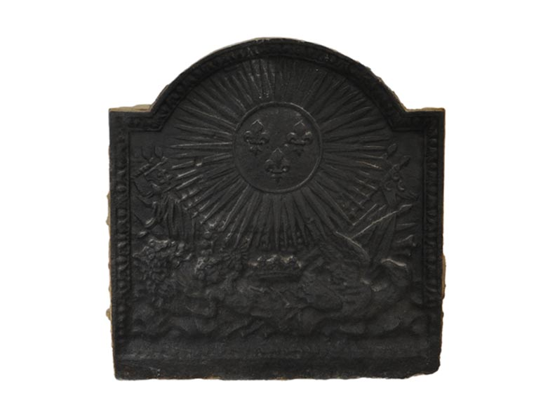 Antique fireback with fleur-de-lis, lying lion and eagle, late 18th century - Reference 10962
