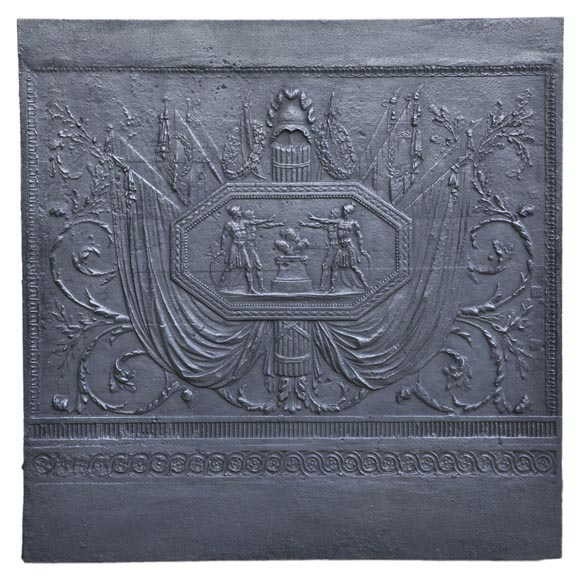 Antique large cast iron fireback inspired by Oath of the Horatii by David, first half of the 19th century-0