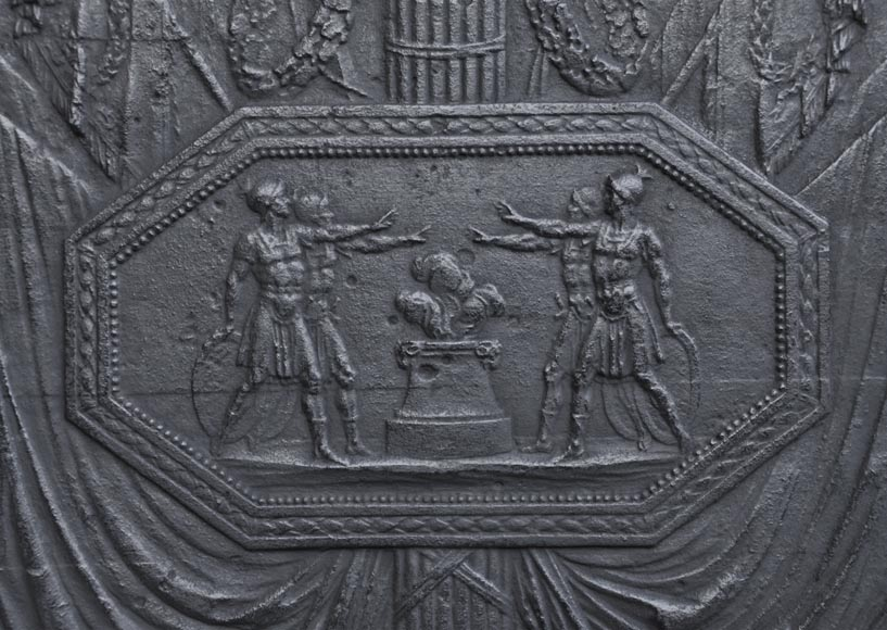 Antique large cast iron fireback inspired by Oath of the Horatii by David, first half of the 19th century-1