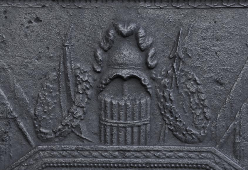 Antique large cast iron fireback inspired by Oath of the Horatii by David, first half of the 19th century-2