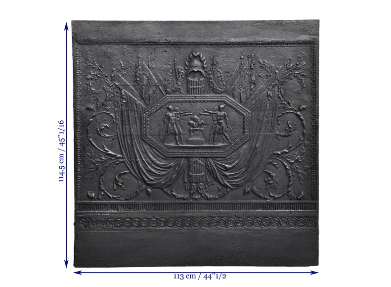 Antique large cast iron fireback inspired by Oath of the Horatii by David, first half of the 19th century-9