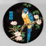 Théodore DECK (1823-1891) - Glazed ceramic dish with a parrot partitioned decoration