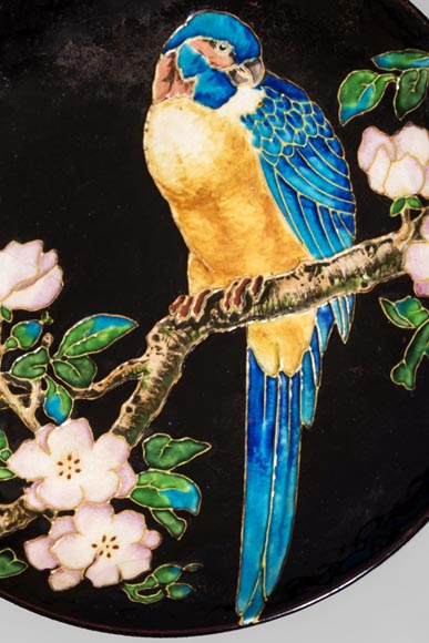 MANUFACTURE JULES VIEILLARD & CIE - Glazed ceramic dish with a parrot partitioned decoration-1