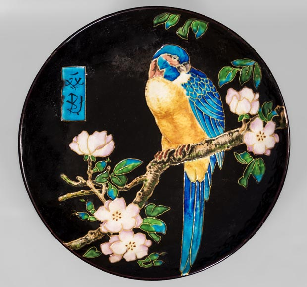 Théodore DECK (1823-1891) - Glazed ceramic dish with a parrot partitioned decoration-0