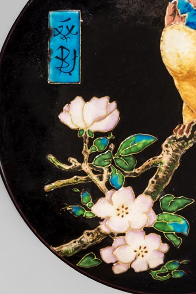 Théodore DECK (1823-1891) - Glazed ceramic dish with a parrot partitioned decoration-2