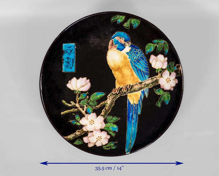 Théodore DECK (1823-1891) - Glazed ceramic dish with a parrot partitioned decoration-5