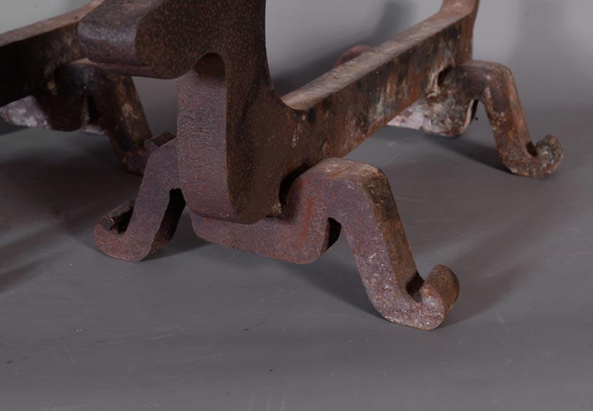 Antique pair of cast iron andirons in the shape of Bassets, 1930's-4