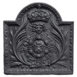 Antique cast iron fireback with French coat of arms, 18th century