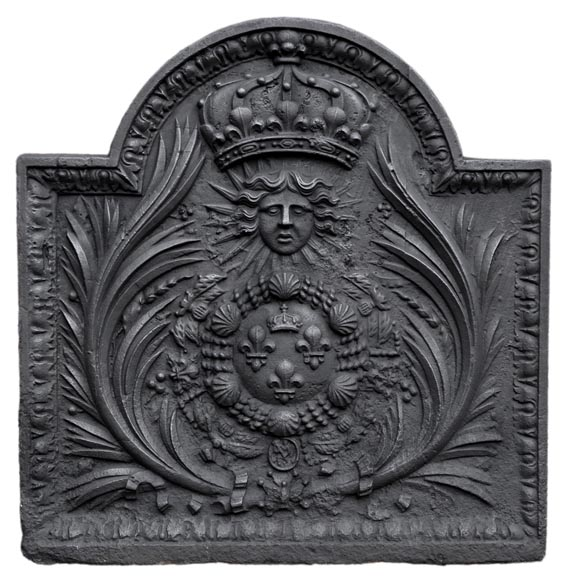 Antique cast iron fireback with French coat of arms, 18th century-0