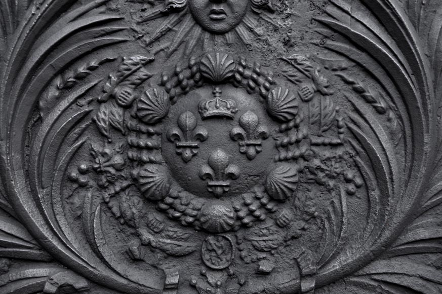 Antique cast iron fireback with French coat of arms, 18th century-1