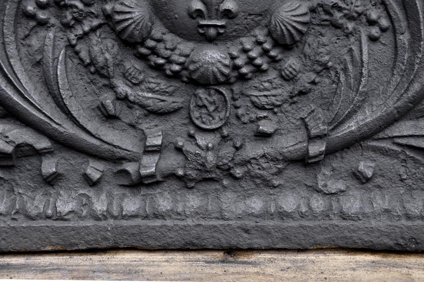 Antique cast iron fireback with French coat of arms, 18th century-5