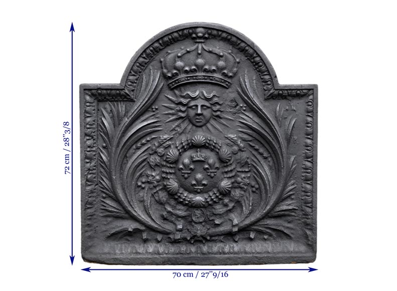 Antique cast iron fireback with French coat of arms, 18th century-7