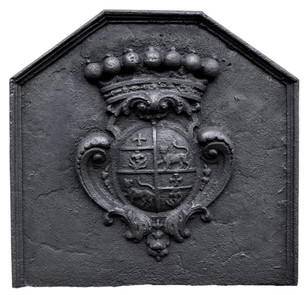 Antique cast iron fireback with the Joly family coat of arms, 18th century -0