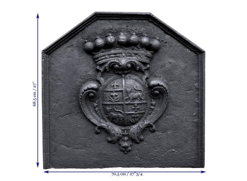 Antique cast iron fireback with the Joly family coat of arms, 18th century -7