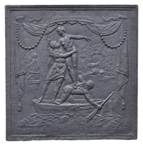 Aeneas in the underworld - Antique Louis XVI style fireback-0