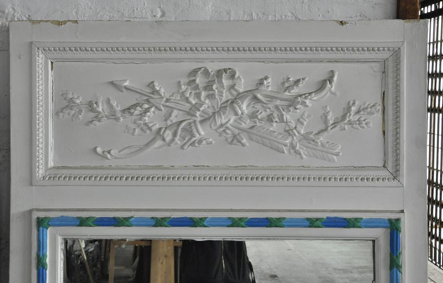 Antique Louis XVI style white overmantel pierglass with bow and arrows-1