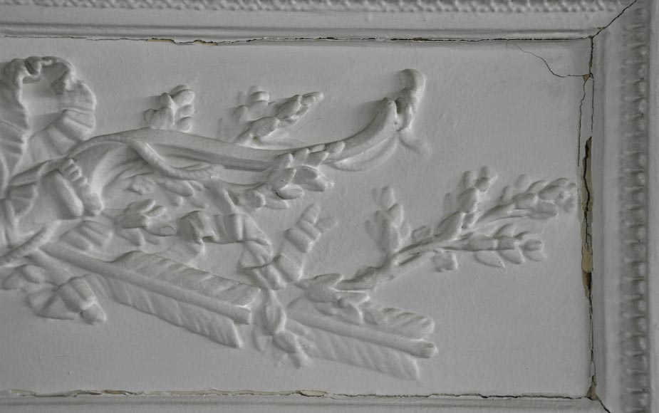 Antique Louis XVI style white overmantel pierglass with bow and arrows-2