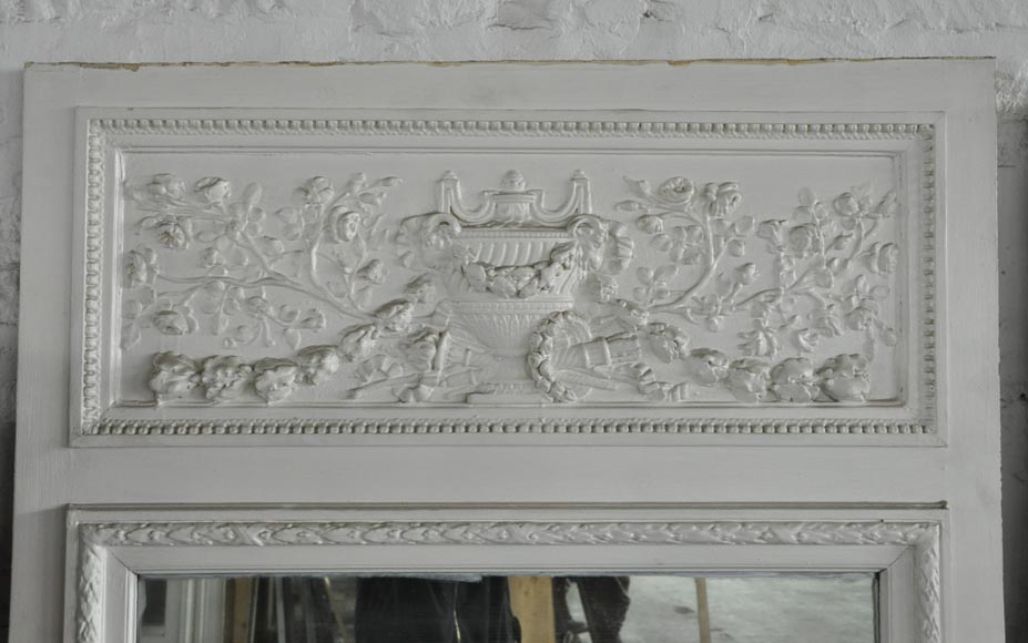 Antique Louis XVI style overmantel pierglass with vase, quiver and flowers-1