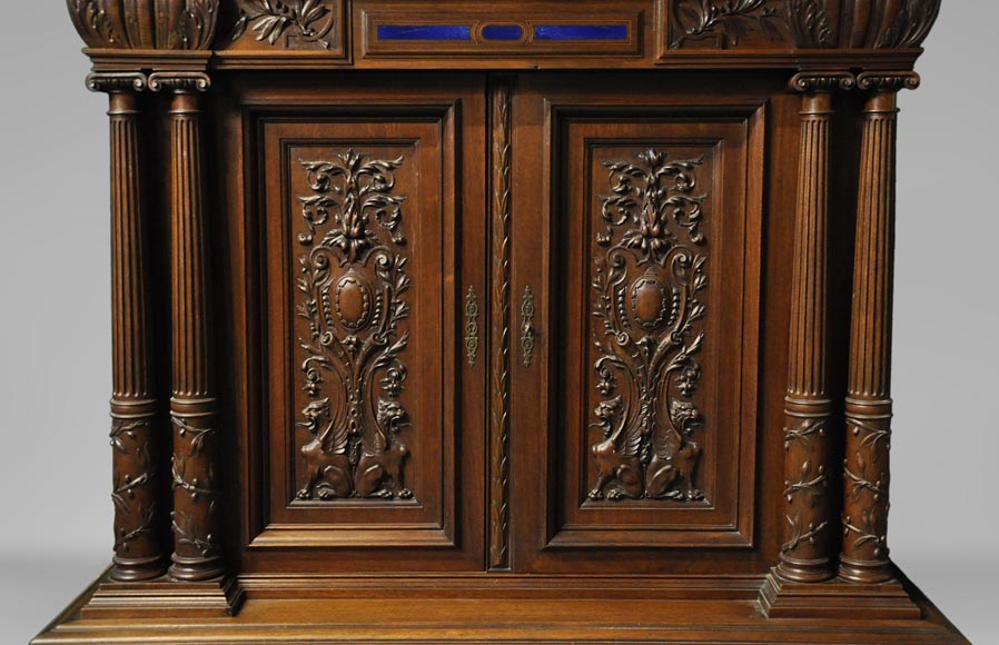 Two-body cabinet, in th Neo-Renaissance style, in carved walnut with enamel and lapis-lazuli inlays-3