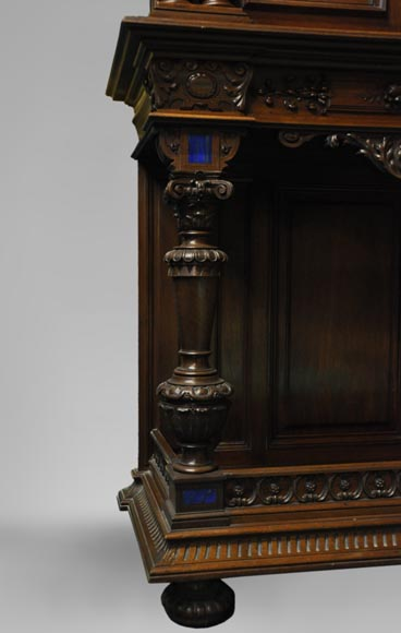 Two-body cabinet, in th Neo-Renaissance style, in carved walnut with enamel and lapis-lazuli inlays-4