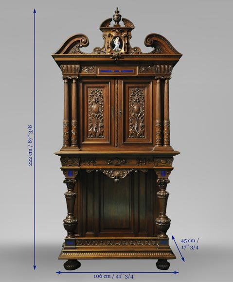Two-body cabinet, in th Neo-Renaissance style, in carved walnut with enamel and lapis-lazuli inlays-7