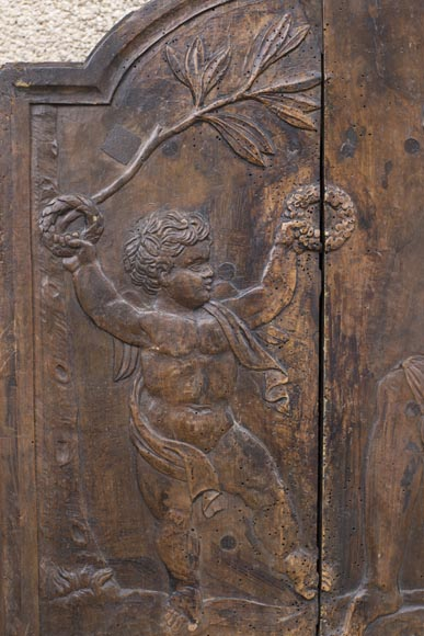 Antique fireback's mould carved in walnut with putto crowning Euterpe, the Muse of Music-2