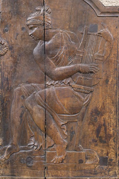 Antique fireback's mould carved in walnut with putto crowning Euterpe, the Muse of Music-3