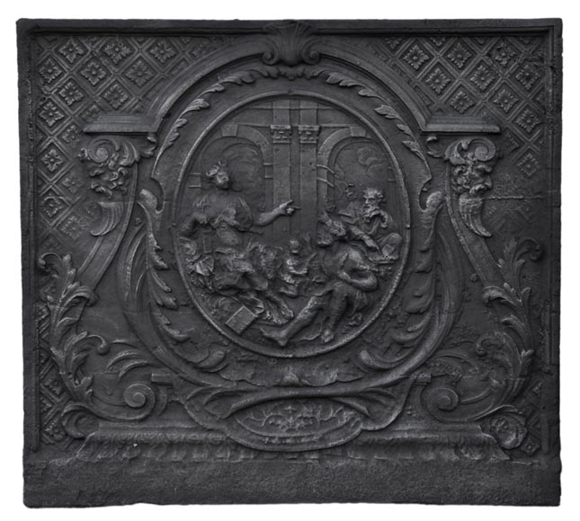 Antique large Louis XV style fireback with Diana and the sages, 18th century - Reference 11010