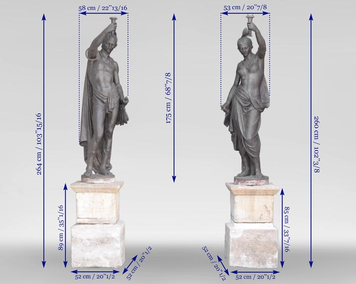 Val d'Osne Foundry - Beautiful pair of statues with Indians made of cast iron -18