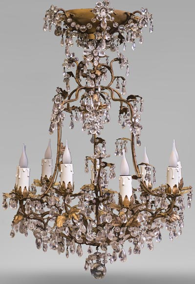 Louis XV style cage chandelier in rock crystal and gilded metal-0