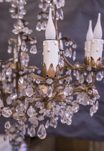 Louis XV style cage chandelier in rock crystal and gilded metal-1