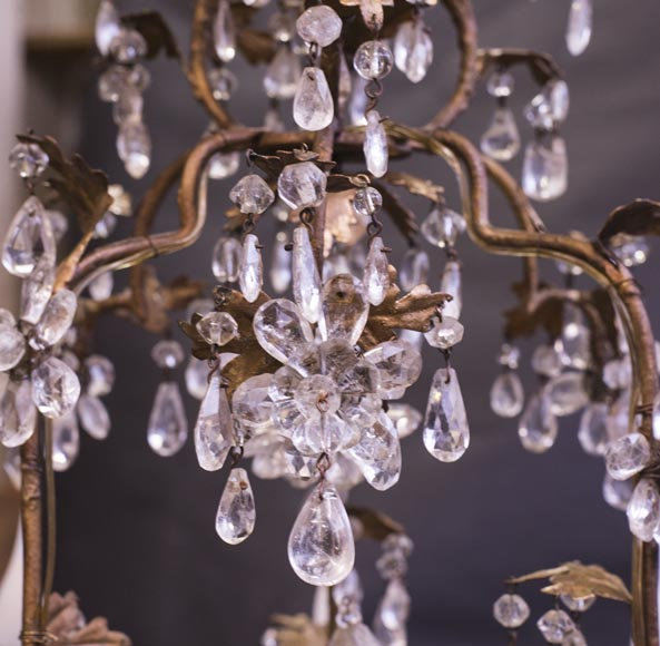 Louis XV style cage chandelier in rock crystal and gilded metal-2