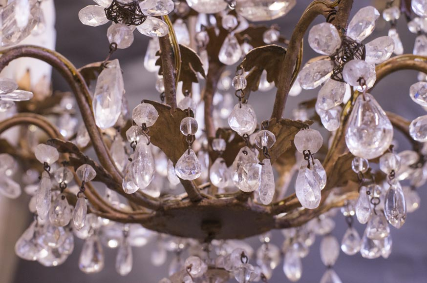 Louis XV style cage chandelier in rock crystal and gilded metal-4