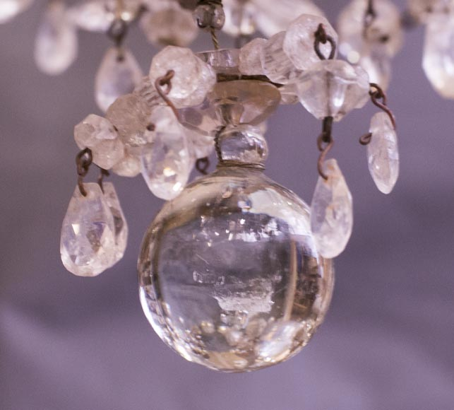 Louis XV style cage chandelier in rock crystal and gilded metal-5