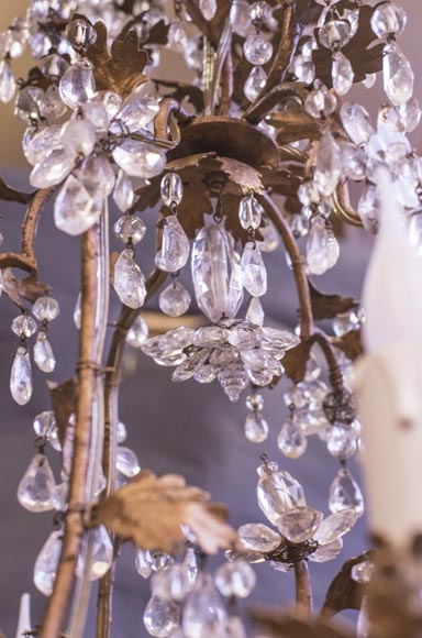 Louis XV style cage chandelier in rock crystal and gilded metal-6