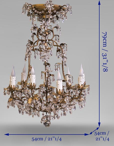 Louis XV style cage chandelier in rock crystal and gilded metal-8