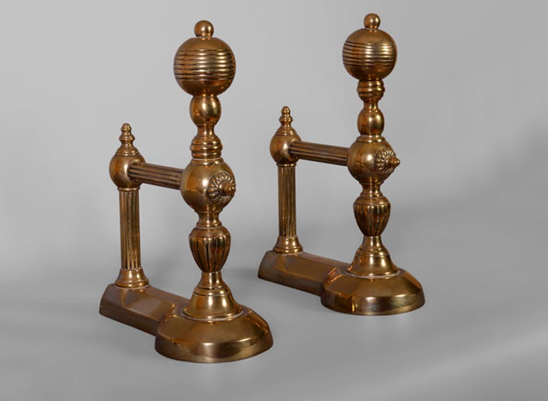 Antique pair of andirons in bronze, 1970's-0