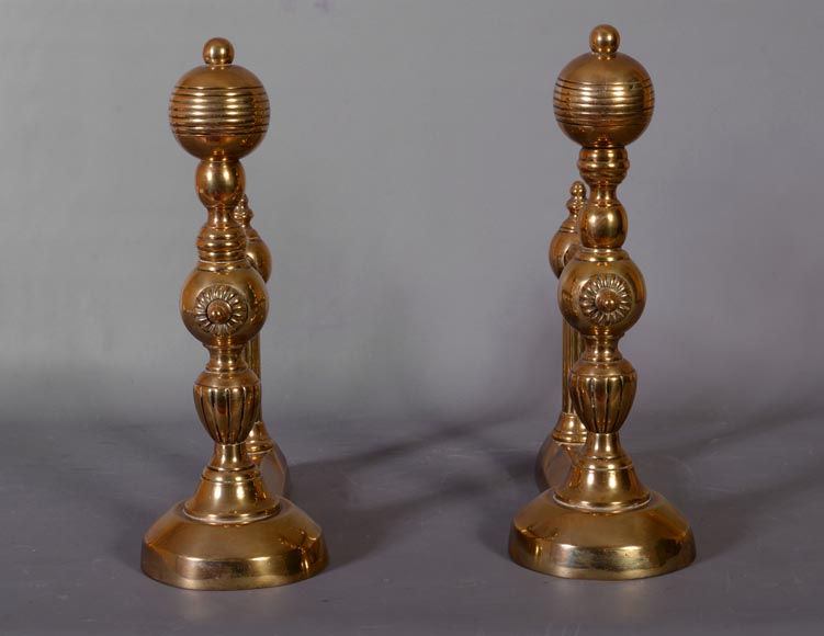 Antique pair of andirons in bronze, 1970's-1