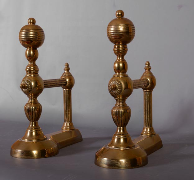 Antique pair of andirons in bronze, 1970's-2