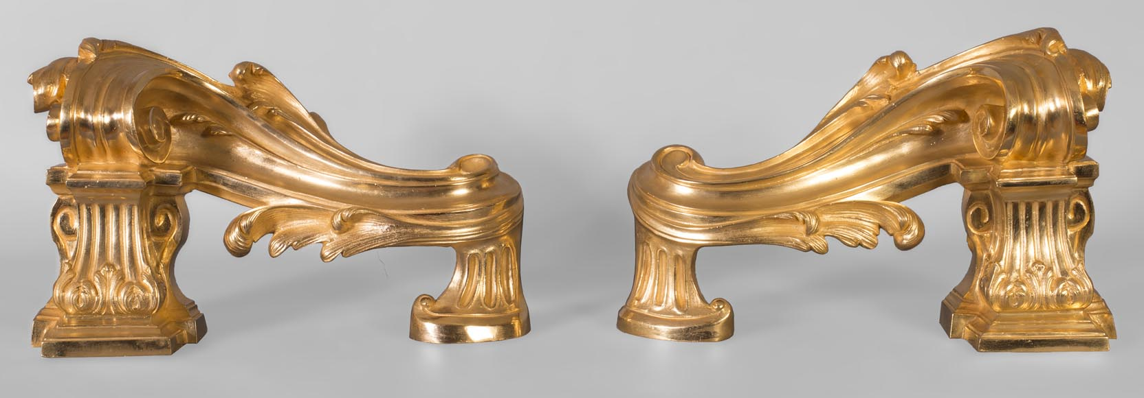 Pair of Napoleon III style chenets, in gilded bronze, signed Henri Vian-0