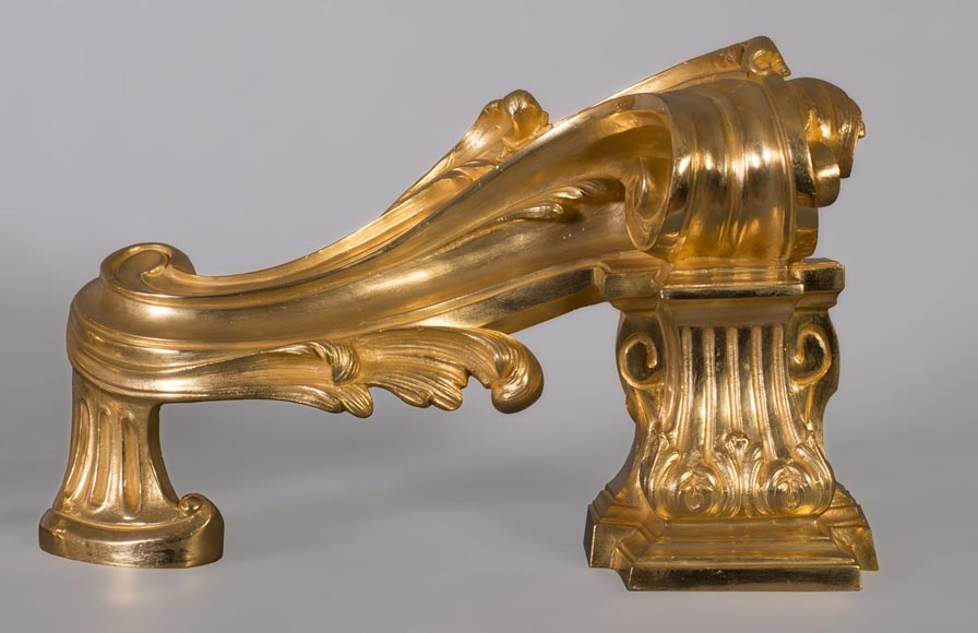 Pair of Napoleon III style chenets, in gilded bronze, signed Henri Vian-1