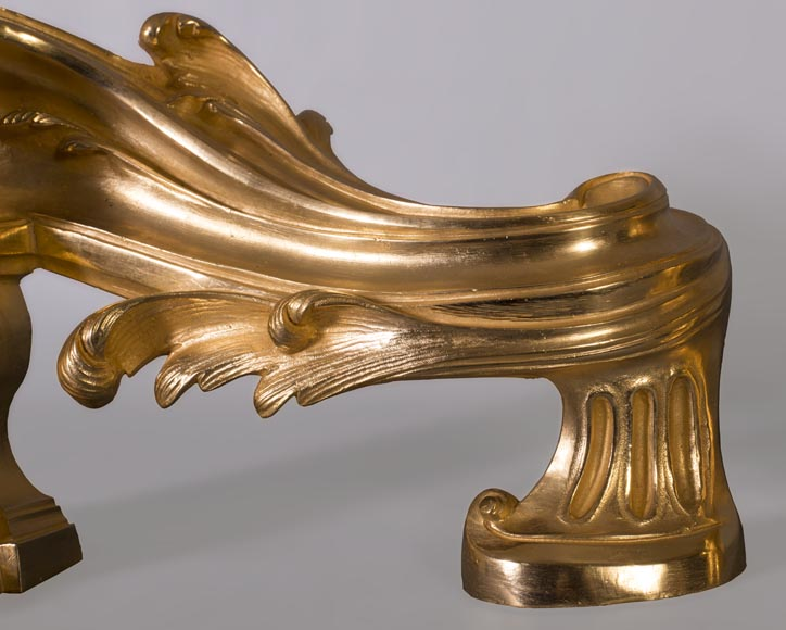 Pair of Napoleon III style chenets, in gilded bronze, signed Henri Vian-2