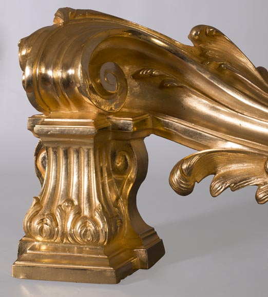 Pair of Napoleon III style chenets, in gilded bronze, signed Henri Vian-3