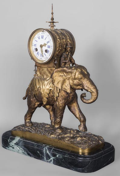 Christophe FRATIN (1801-1864) rare Asian elephant clock, in gilded and patinated bronze-0