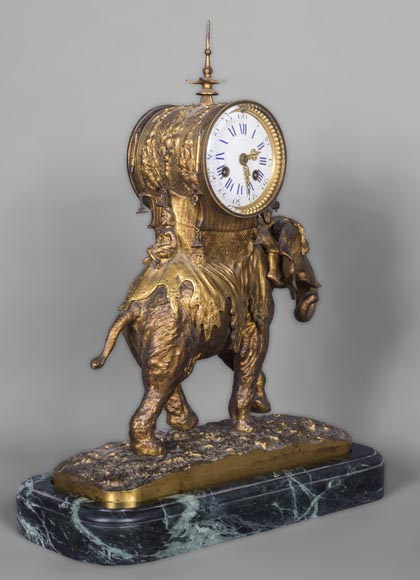 Christophe FRATIN (1801-1864) rare Asian elephant clock, in gilded and patinated bronze-2