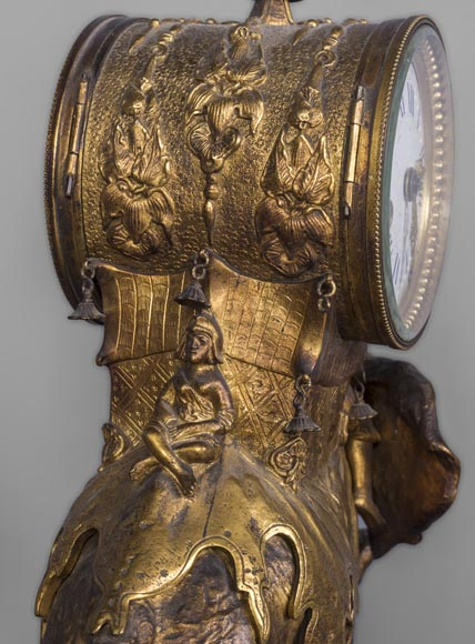 Christophe FRATIN (1801-1864) rare Asian elephant clock, in gilded and patinated bronze-3