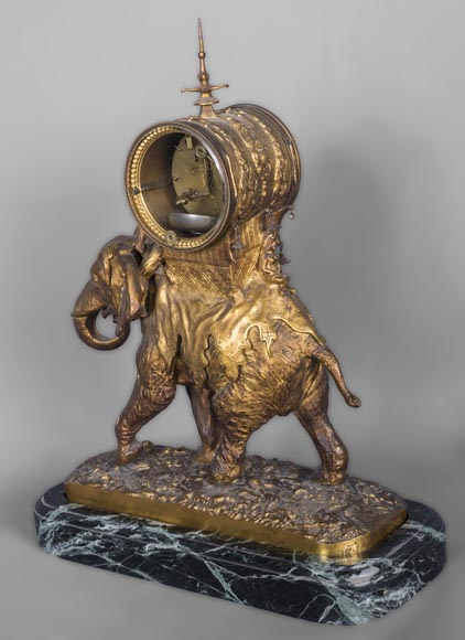 Christophe FRATIN (1801-1864) rare Asian elephant clock, in gilded and patinated bronze-4