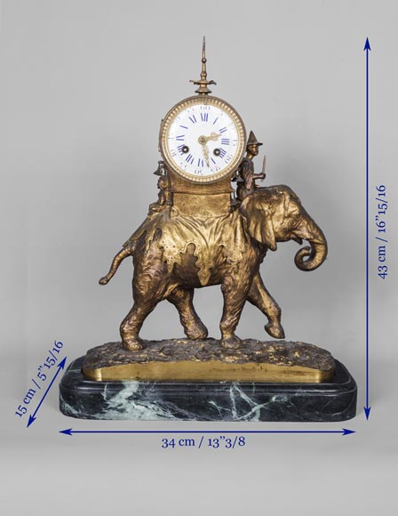 Christophe FRATIN (1801-1864) rare Asian elephant clock, in gilded and patinated bronze-7